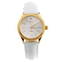 Rolex Cellini Gold Case White Dial with White Leather Strap-Lady Size-1