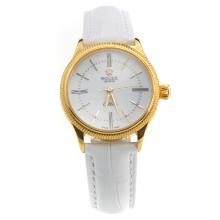 Rolex Cellini Gold Case White Dial with White Leather Strap-Lady Size