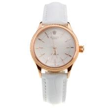 Rolex Cellini Rose Gold Case White Dial with White Leather Strap-Lady Size-1