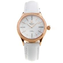Rolex Cellini Rose Gold Case White Dial with White Leather Strap-Lady Size