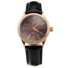 Rolex Cellini Rose Gold Case Red Dial with Black Leather Strap-Lady Size