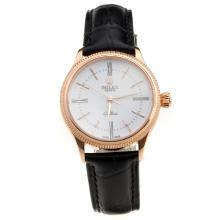 Rolex Cellini Rose Gold Case White Dial with Black Leather Strap-Lady Size-1