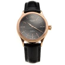 Rolex Cellini Rose Gold Case Blue Dial with Black Leather Strap-Lady Size