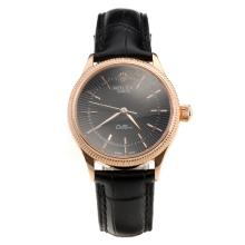 Rolex Cellini Rose Gold Case Black Dial with Black Leather Strap-Lady Size-1