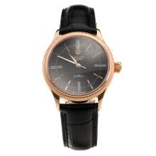 Rolex Cellini Rose Gold Case Black Dial with Black Leather Strap-Lady Size