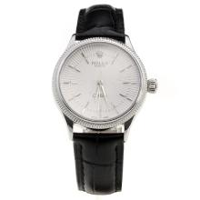 Rolex Cellini White Dial with Black Leather Strap-Lady Size-1