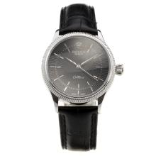 Rolex Cellini Black Dial with Black Leather Strap-Lady Size-1