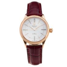 Rolex Cellini Rose Gold Case White Dial with Purple Leather Strap-Lady Size