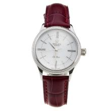 Rolex Cellini White Dial with Purple Leather Strap-Lady Size-1
