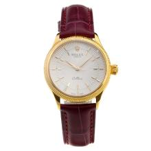Rolex Cellini Gold Case White Dial with Purple Leather Strap-Lady Size-1