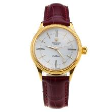 Rolex Cellini Gold Case White Dial with Purple Leather Strap-Lady Size