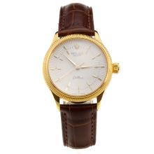 Rolex Cellini Gold Case White Dial with Brown Leather Strap-Lady Size-1
