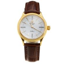 Rolex Cellini Gold Case White Dial with Brown Leather Strap-Lady Size