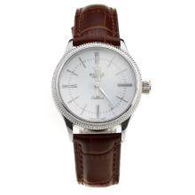 Rolex Cellini White Dial with Brown Leather Strap-Lady Size-1