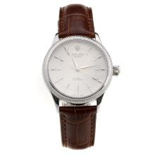 Rolex Cellini White Dial with Brown Leather Strap-Lady Size