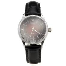 Rolex Cellini Red Dial with Black Leather Strap-Lady Size