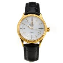 Rolex Cellini Gold Case White Dial with Black Leather Strap-Lady Size-1