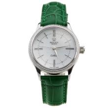 Rolex Cellini White Dial with Green Leather Strap-Lady Size