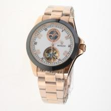 Rolex Automatic Full Rose Gold Ceramic Bezel with White Dial-18K Plated Gold Movement