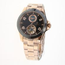 Rolex Automatic Full Rose Gold Ceramic Bezel with Black Dial-18K Plated Gold Movement