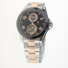 Rolex Automatic Two Tone Ceramic Bezel with Black Dial-18K Plated Gold Movement