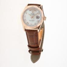Rolex Day-Date 3156 Automatic Movement Rose Gold Case Roman Markers with MOP Dial-Leather Strap