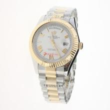 Rolex Day-Date II Automatic Two Tone Roman Markers with White Dial