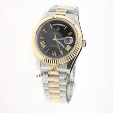 Rolex Day-Date II Automatic Two Tone Roman Markers with Black Dial
