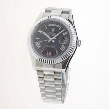 Rolex Day-Date II Automatic Roman Markers with Black Dial S/S