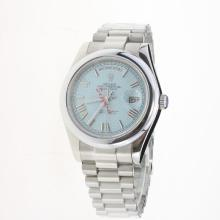 Rolex Day-Date II Automatic Roman Markers with Blue Checkered Dial S/S