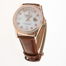 Rolex Day-Date 3156 Automatic Movement Rose Gold Case Diamond Markers & Bezel with MOP Dial-Leather Strap