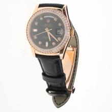 Rolex Day-Date 3156 Automatic Movement Rose Gold Case Diamond Markers & Bezel with Black Dial-Leather Strap