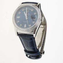 Rolex Day-Date 3156 Automatic Movement Diamond Markers & Bezel with Blue Dial-Leather Strap