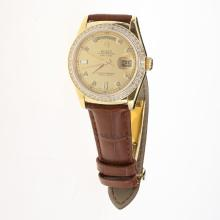 Rolex Day-Date 3156 Automatic Movement Gold Case Diamond Markers & Bezel with Golden Dial-Leather Strap