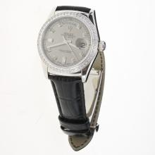 Rolex Day-Date 3156 Automatic Movement Diamond Markers & Bezel with Gray Dial-Leather Strap