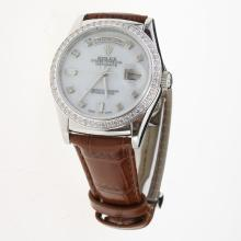 Rolex Day-Date 3156 Automatic Movement Diamond Markers & Bezel with MOP Dial-Leather Strap