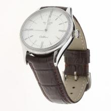 Rolex Cellini Automatic Diamond Bezel White Dial with Leather Strap-Same Chassis as Swiss Version-1