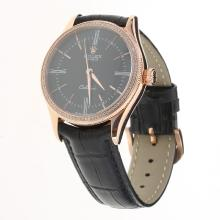 Rolex Cellini Automatic Rose Gold Case Diamond Bezel Black Dial with Leather Strap-Same Chassis as Swiss Version-2