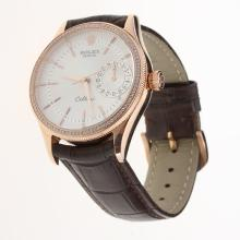 Rolex Cellini Automatic Rose Gold Case Diamond Bezel White Dial with Leather Strap-Same Chassis as Swiss Version-3