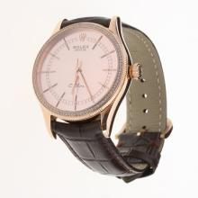Rolex Cellini Automatic Rose Gold Case Diamond Bezel Champagne Dial with Leather Strap-Same Chassis as Swiss Version-1