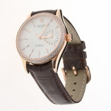 Rolex Cellini Automatic Rose Gold Case Diamond Bezel White Dial with Leather Strap-Same Chassis as Swiss Version-1
