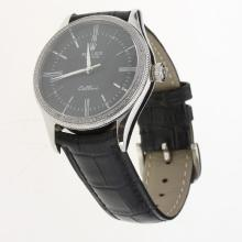 Rolex Cellini Automatic Diamond Bezel Black Dial with Leather Strap-Same Chassis as Swiss Version-2