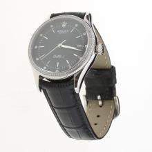 Rolex Cellini Automatic Diamond Bezel Black Dial with Leather Strap-Same Chassis as Swiss Version-1
