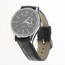 Rolex Cellini Automatic Diamond Bezel Black Dial with Leather Strap-Same Chassis as Swiss Version