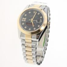Rolex Datejust II Automatic Two Tone Diamond Markers with Black Dial