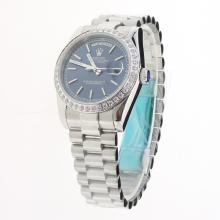 Rolex Day-Date Automatic Diamond Bezel Stick Markers with Blue Dial S/S