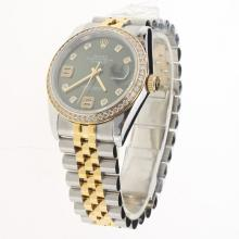Rolex Datejust Swiss ETA 2836 Movement Two Tone Diamond Bezel and Markers with Green Dial-Same Chassis as Swiss Version