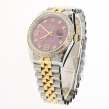 Rolex Datejust Swiss ETA 2836 Movement Two Tone Diamond Bezel and Markers with Purple Dial-Same Chassis as Swiss Version