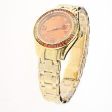 Rolex Masterpiece Swiss ETA 2836 Movement Full Gold Colorful CZ Diamond Bezel with Orange Dial