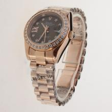 Rolex Datejust Automatic Full Rose Gold Diamond Bezel and Markers with Brown Dial-1